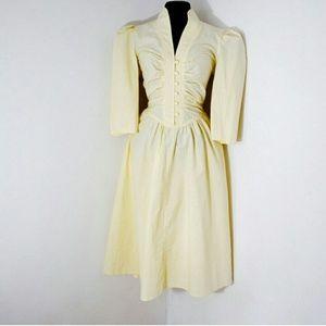 80s Vintage Garden Dress Full Pleated Skirt
