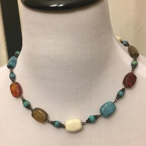 Multicolored Bead and Gemstone Vintage Necklace