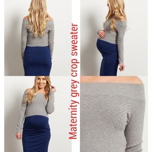 Tops - NWT grey maternity crop sweater
