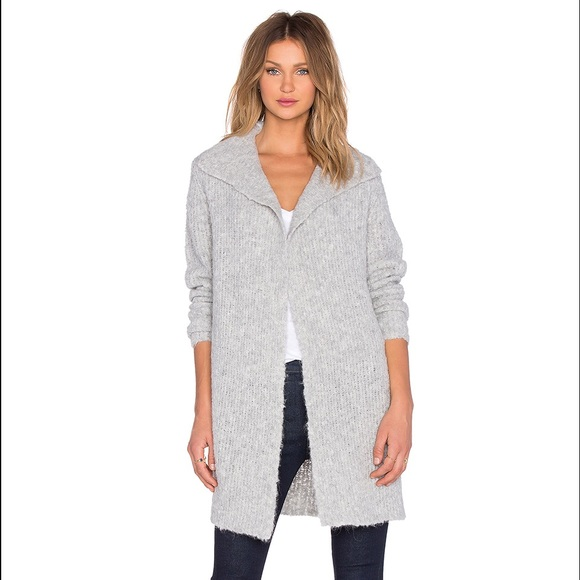 61a2382119a James Perse Boucle Cardigan in Light Heather Grey