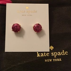 Kate spade pink with gold sparkle gem earrings NWT