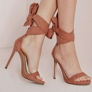 Missguided pink ankle tie heels sz 8 NWT