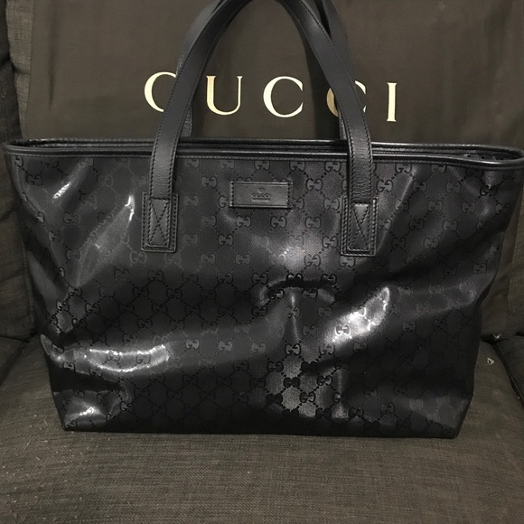 204d576ee Gucci Bags | Reserved Black Gg Imprime Coated Tote | Poshmark