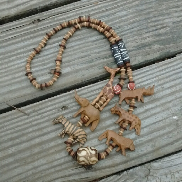 animal safari m carved necklace african wooden poshmark listing