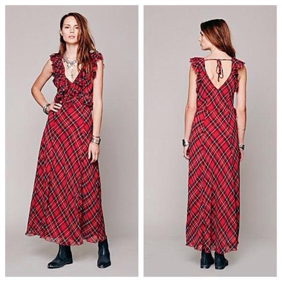 8e0bcb7411 Free People Dresses & Skirts - Free People Red Tartan Plaid Venetia Dress
