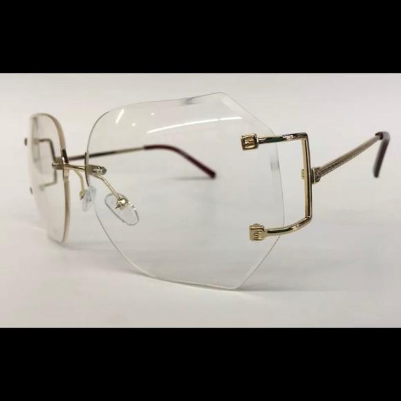 541f8dec226 Accessories - Oversized vintage rimless sunglasses clear