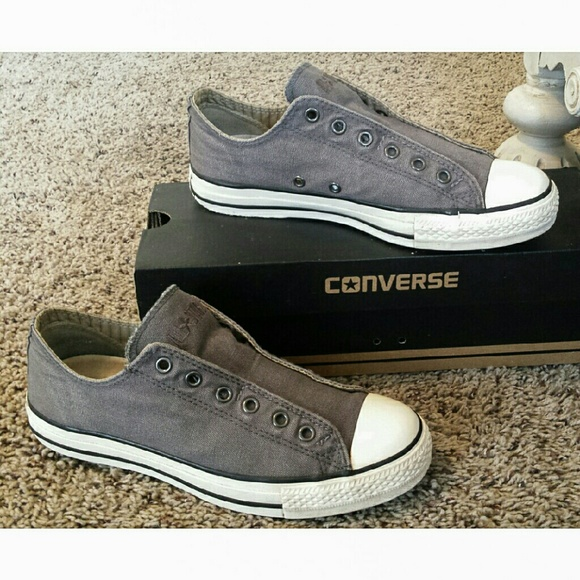 a354d1d28ede7c Converse Shoes - Gray Laceless Converse Chuck Taylor Size 8