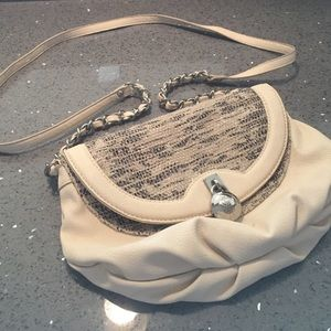 Tan embellished crossbody purse