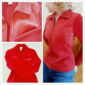 Coldwater Creek RED LEATHER Sweater Jacket M wool