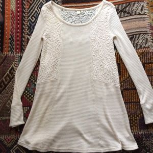 Anthropologie Eloise Tunic Dress Lace Top XS