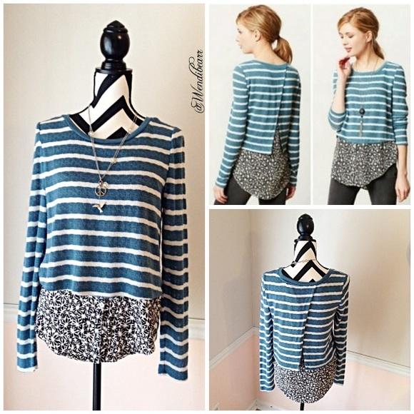 Anthropologie Sweaters Postmark Preppy Sweater Blouse Combo Poshmark