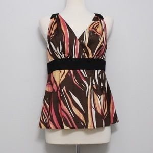 Tops - Pink and Brown Abstract Print Top