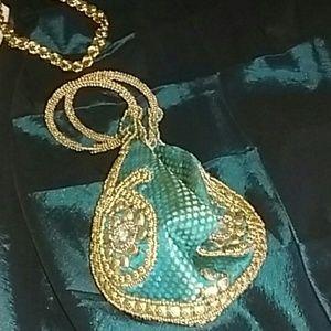 Handbags - Emerald beetle clutch purse