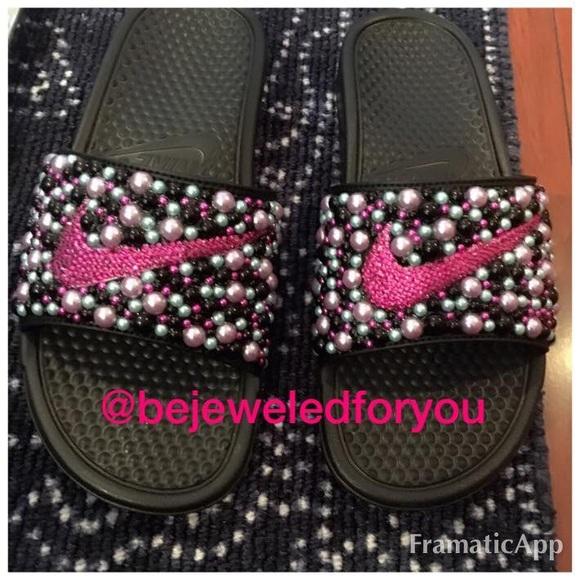 Nike Benassi Slides with Fuchsia Swarovski Crystal