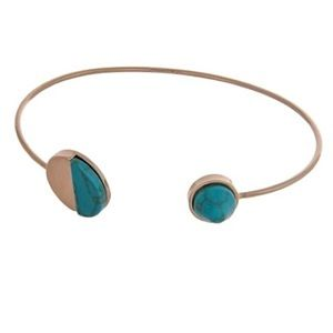 🌎👉🏼Dainty Gold Circle Cuff-Turquoise