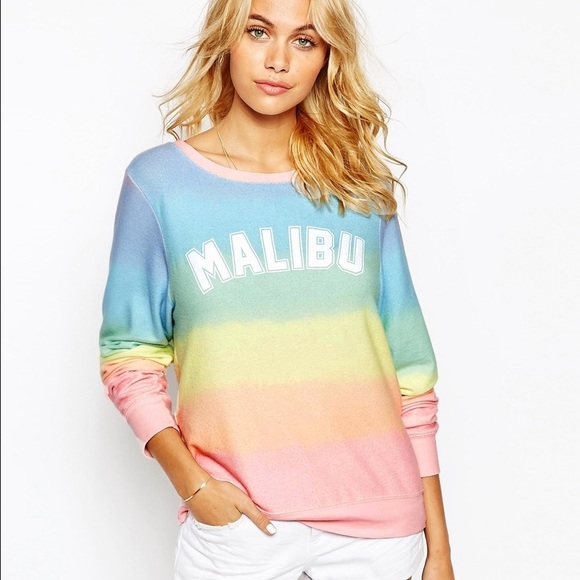 123738f73df0da Wildfox rainbow Malibu baggy beach jumper sweater.  M_583f0dc6b4188e73e007f62f