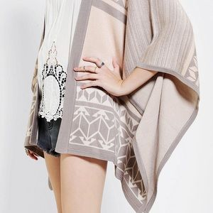Gentlefawn Sweaters - Gentlefawn Pink & Taupe Poncho