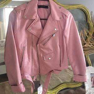 Zara pink moto jacket