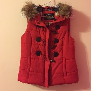Jackets & Blazers - Puffer vest with faux fur on hood