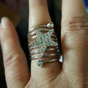 Maya Jewelry - Silver cz star ring spiral band sz 7