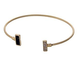 🎹👉🏼Dainty Rectangle Cuff-Black & Bling