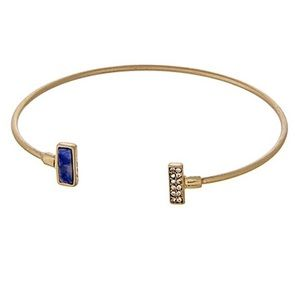 🌎👉🏼Dainty Gold Rectangle Cuff-Blue & Bling