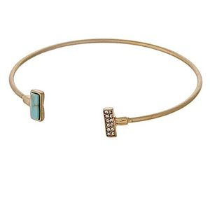 🌎👉🏼Dainty Gold Rectangle Cuff-Turquoise Bling