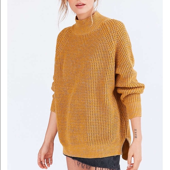 5bfb7ee4a5c BDG Waffle Knit Turtleneck Sweater in Mustard