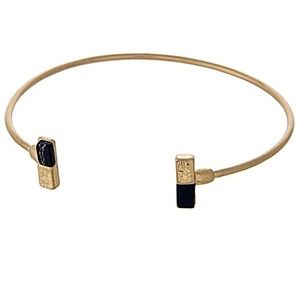 🎹👉🏼Dainty Gold Dipped Rectangle Cuff-Black