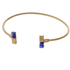 🌎👉🏼Dainty Gold Dipped Rectangle Cuff-Blue