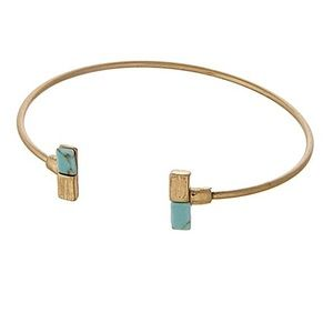 🌎👉🏼Dainty Gold Dipped Rectangle Cuff-Turquoise
