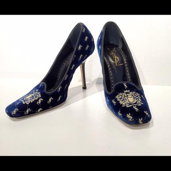 edded88a41 Yves Saint Laurent Shoes | Sold Navy Velvet Heels | Poshmark