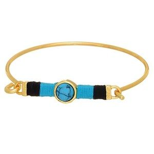 🌎👉🏼Gold/Turquoise Threaded Bar Latch Bangle