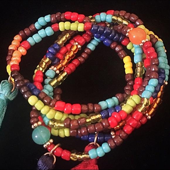 Jewelry - 🌈👉🏼Bold Color Seed Beads & Tassels Bracelet Set