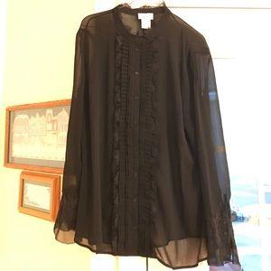 Gorgeous sheer black blouse amazing detail XL