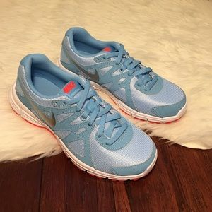 Nike Shoes - Nike Blue & Silver Revolution 2 Running Sneakers
