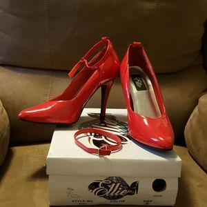 Faux patent leather red stiletto heels