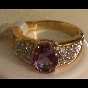 Amethyst & CZ ring