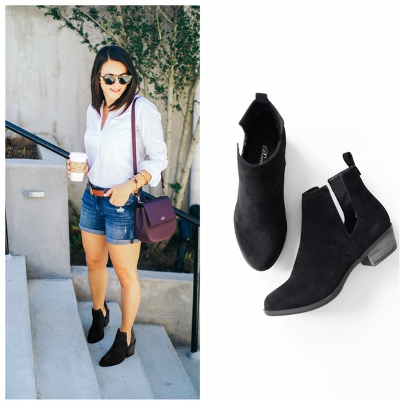 Black Suede Side Cutout Cowgirl Booties