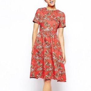ASOS Bright Coral Floral Midi Dress