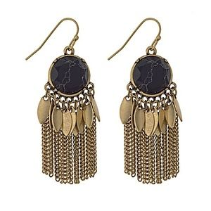 Natural Stone & Metal Fringe Earrings-Black