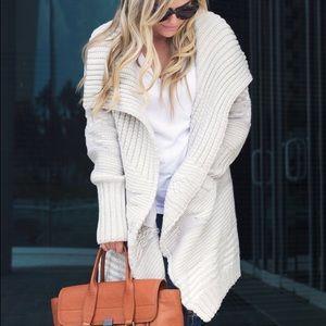 Cream & Grey Oversized Cardigan