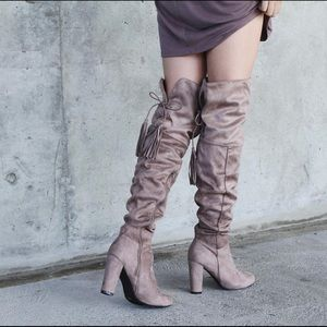 Shoes - Taupe suede Tassel Lace up Chunky OTK boots