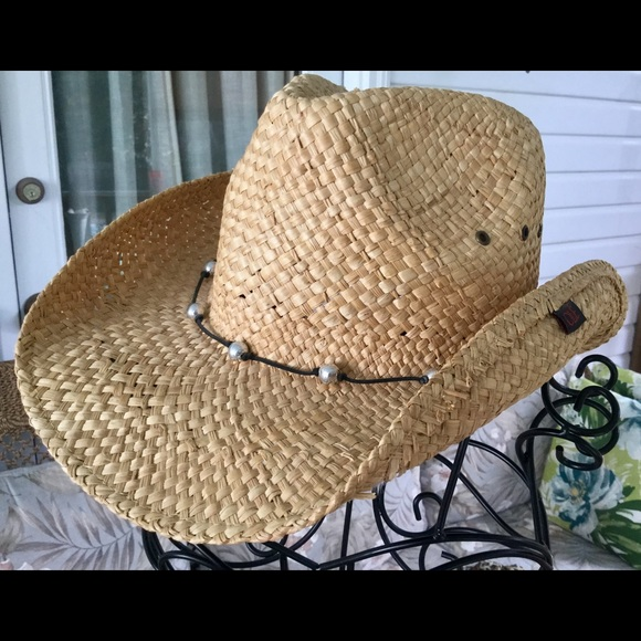 OLE COWGIRLS! NWOT STRAW HAT WITH SILVER BEADS. M 583f4b2ceaf03059250643e0 eb9d2212b6b