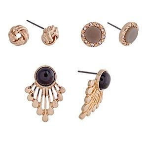 🌎👂🏼Fan/Knot/Button Earring Trio-Black Gray Gold