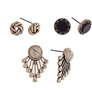 🎹👂🏼Fan/Knot/Stud Earring Trio-White & Black