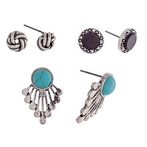 🌎👂🏼Fan/Knot/Stud Earring Trio-Black & Turquoise