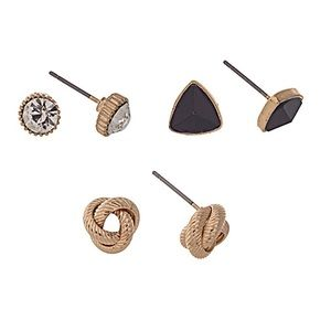Stud/Triangle/Knot Earring Trio-Black & Gold