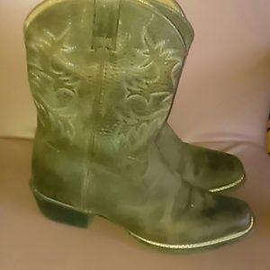 11 By Boris Bidjan Saberi Shoes - Ariat 35.5 cowboy brown leather boots blue stitchi