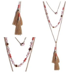 NEW Layered Natural Beads Tassel Necklace